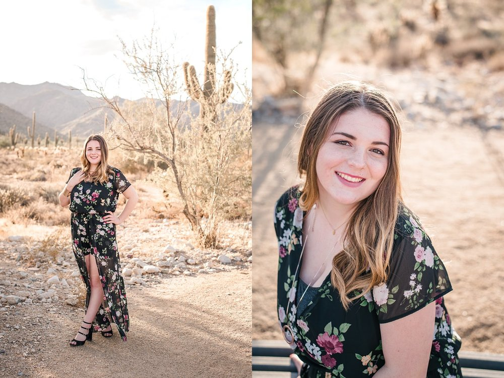 portraits of senior girl in desert at golden hour