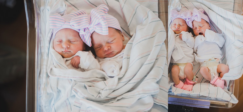 Newborn twin girls in hospital bassinet at atlanta northside hospital