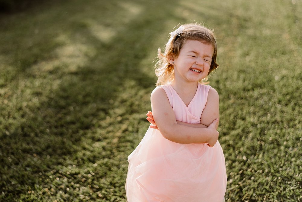 toddler girl in pink dress laughing Cauble Park Lake Acworth