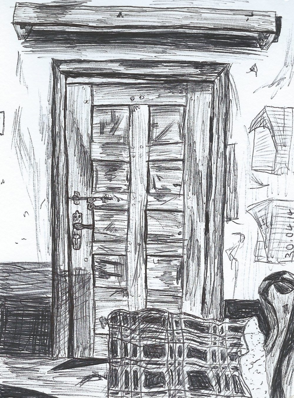 Front Door Drawing In Broken Front Door Uganda u2014 Bella Watson Art