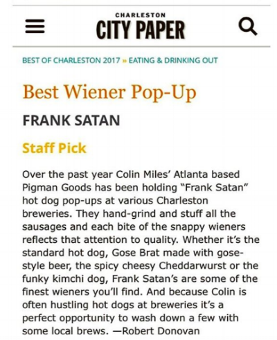 Thank you, Charleston city paper article!