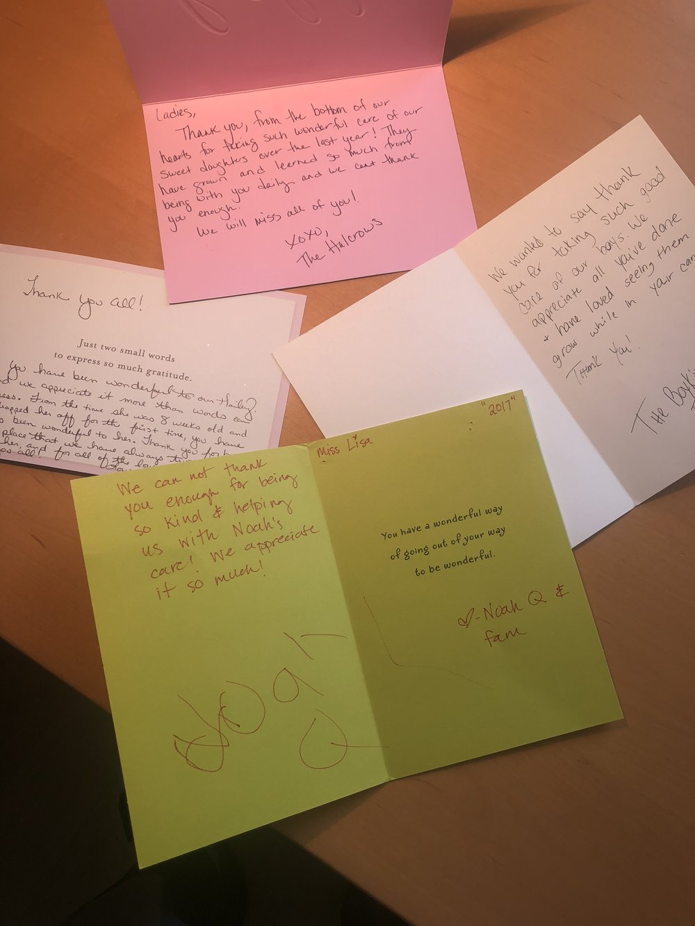 More Recent Thank you  letters -