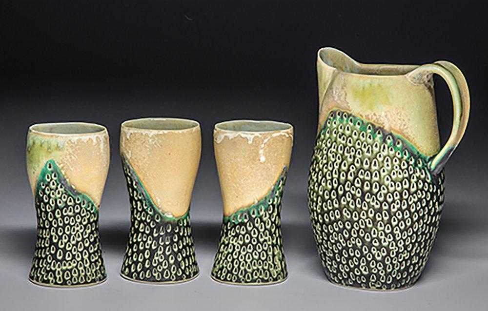 Wrenn Pottery ridgelinepitcherset.jpg