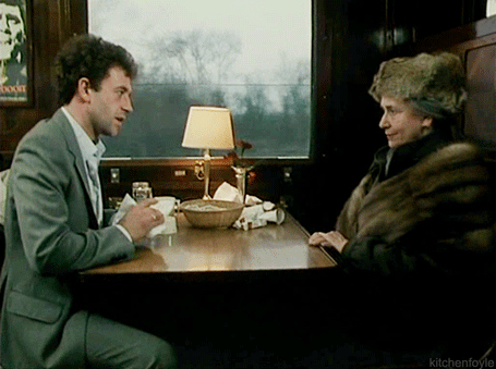 Michael Kitchen and Peggy Ashcroft in Caught On A Train (1980)