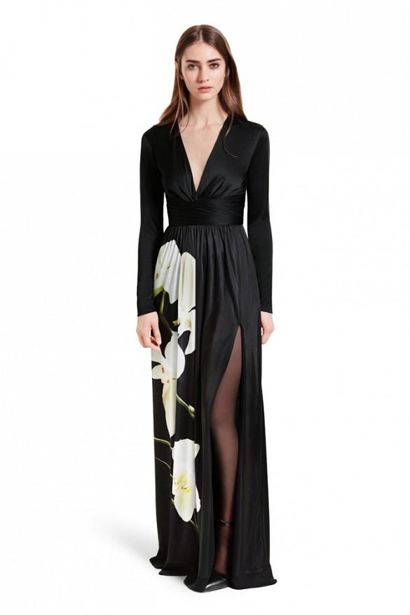 black thigh slit dress