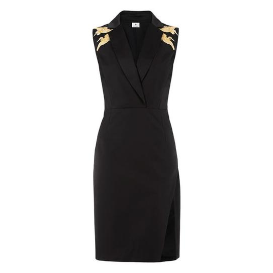 blk dress gold shoulder