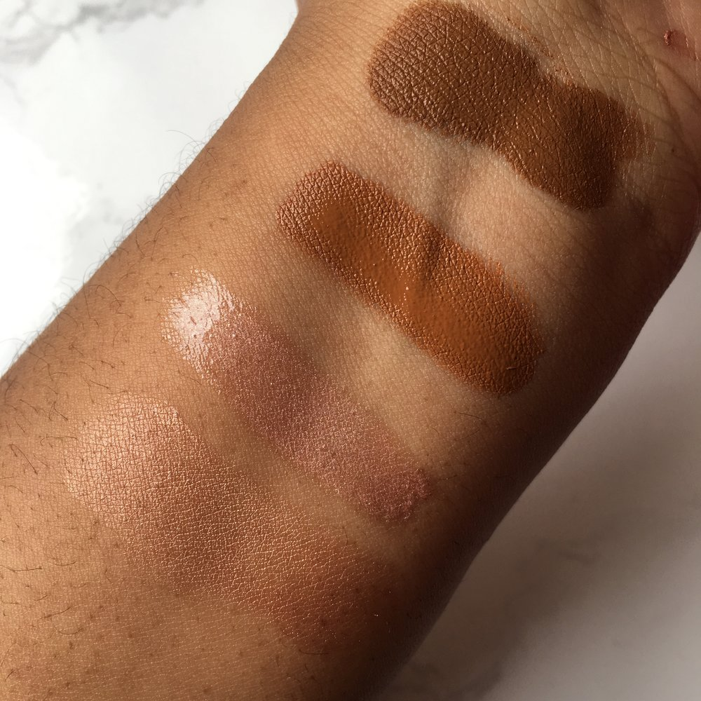 Swatches top to bottom:  Stick foundation in 510 Suede C, Concealer in 465 Suede C, Metallic lipstick in Mirrored Nude, Highlighter in Lumières D'Or Rose