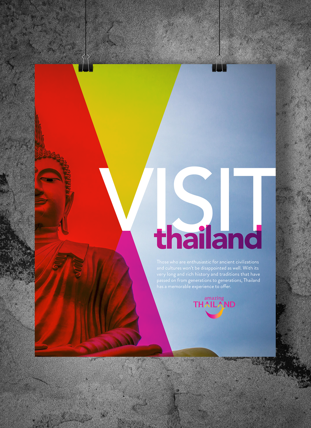 "Class: Design + Layout - Assignment: Using the the supplied collateral (photo, copy and logo), create a layout based on shapes promoting tourism to Thailand.Design Process: Using triangles, I wanted to bring emphasis to an iconic Thai symbol supplied. To up the visual interest, I used the colors in the provided logo and used the shapes in the letter ""V"" create movement. Playing off the transparency of the triangles, I used transparency in ""thailand"" as well."