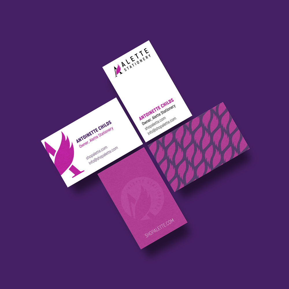 """- Deliverables: Fully fleshed out logo designs and business card ideas Design Process: Logo: Drawing inspiration from the brand name, which means """"Little Winged One"""", I wanted to create a strong graphic with the wing element. I love the simplicity and movement of the wing with the typographic A element. And the wing makes a great pattern for future branding."""