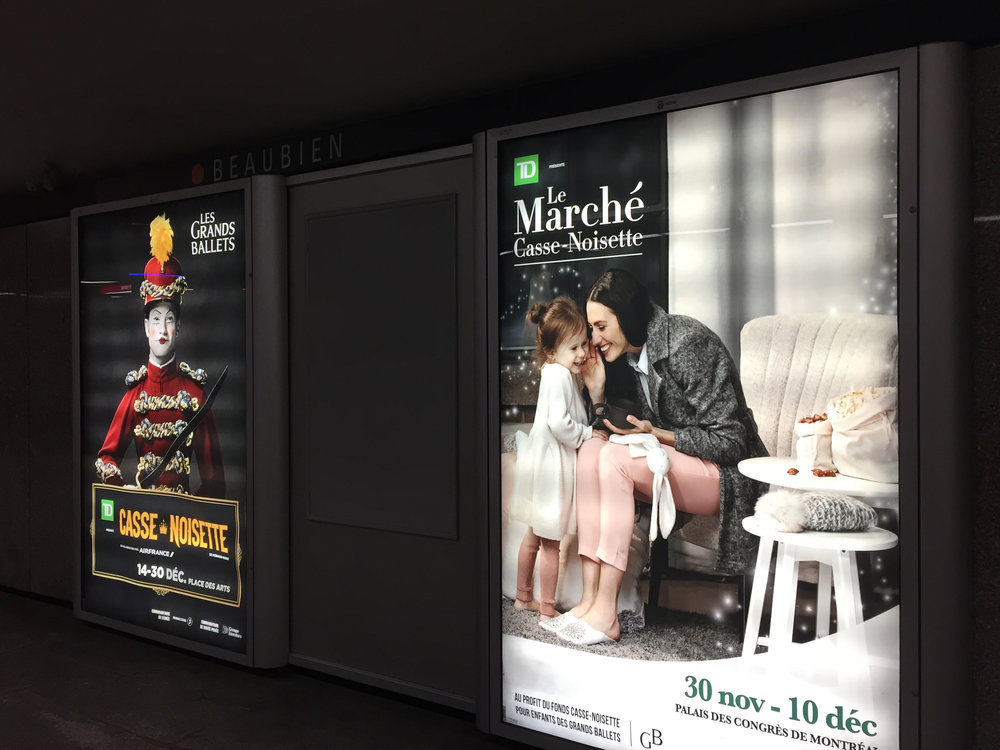 Two of my images side by side inside STM subway