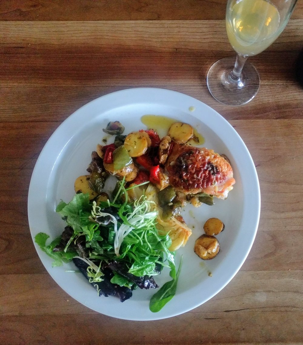Brad served a home cooked recipe from Yotam Ottolenghi's Jerusalem cookbook—an orange braised chicken and fennel dish with potatoes and peppers and a plain green salad—that paired beautifully with both the Windfall Orchard Farmhouse Cider and Perry.