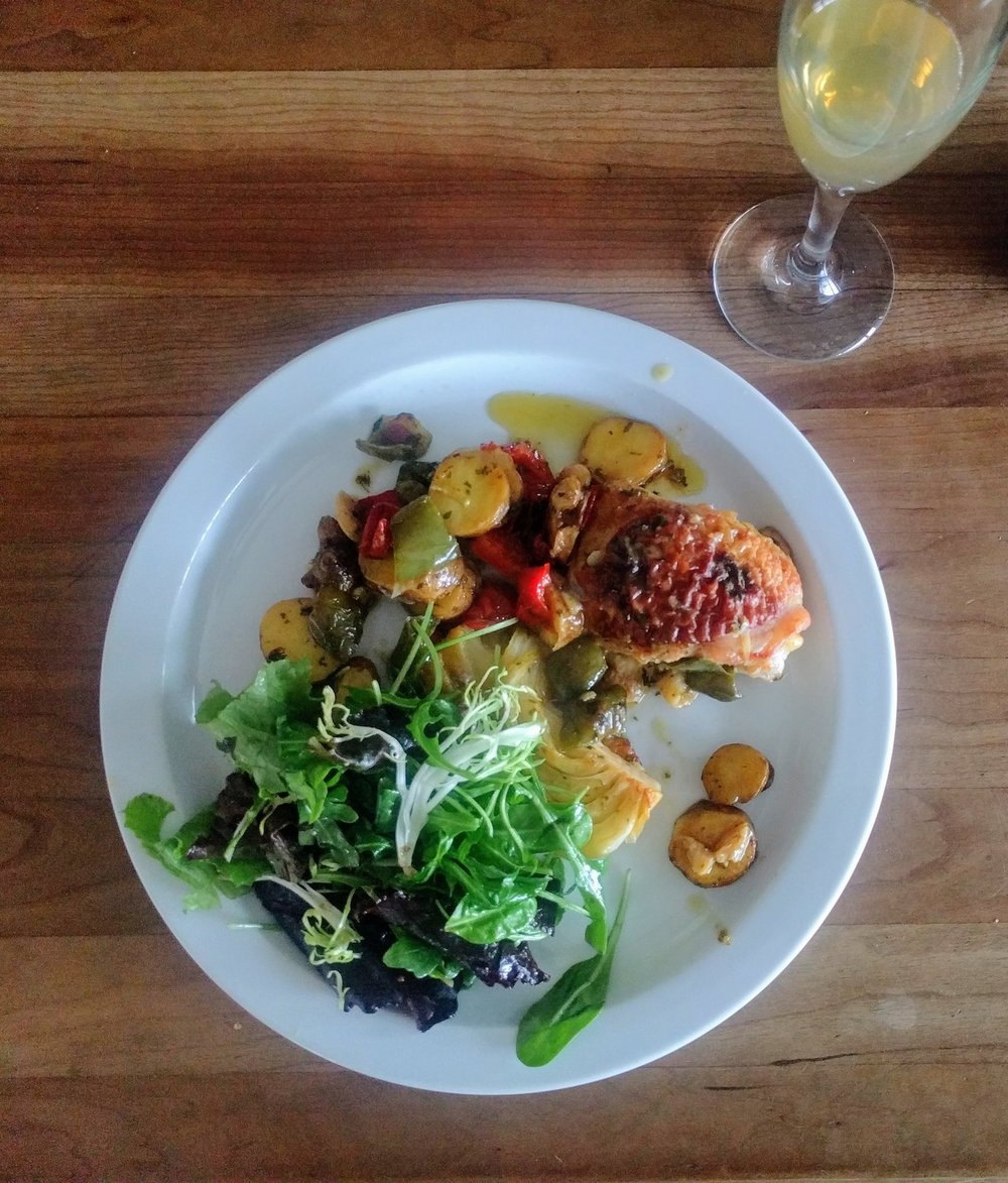 Brad prepared a home cooked recipe from Yotam Ottolenghi's Jerusalem (also available via Amazon) of chicken and fennel alongside a simple salad. The combination paired beautifully with both the Windfall perry and hard cider.