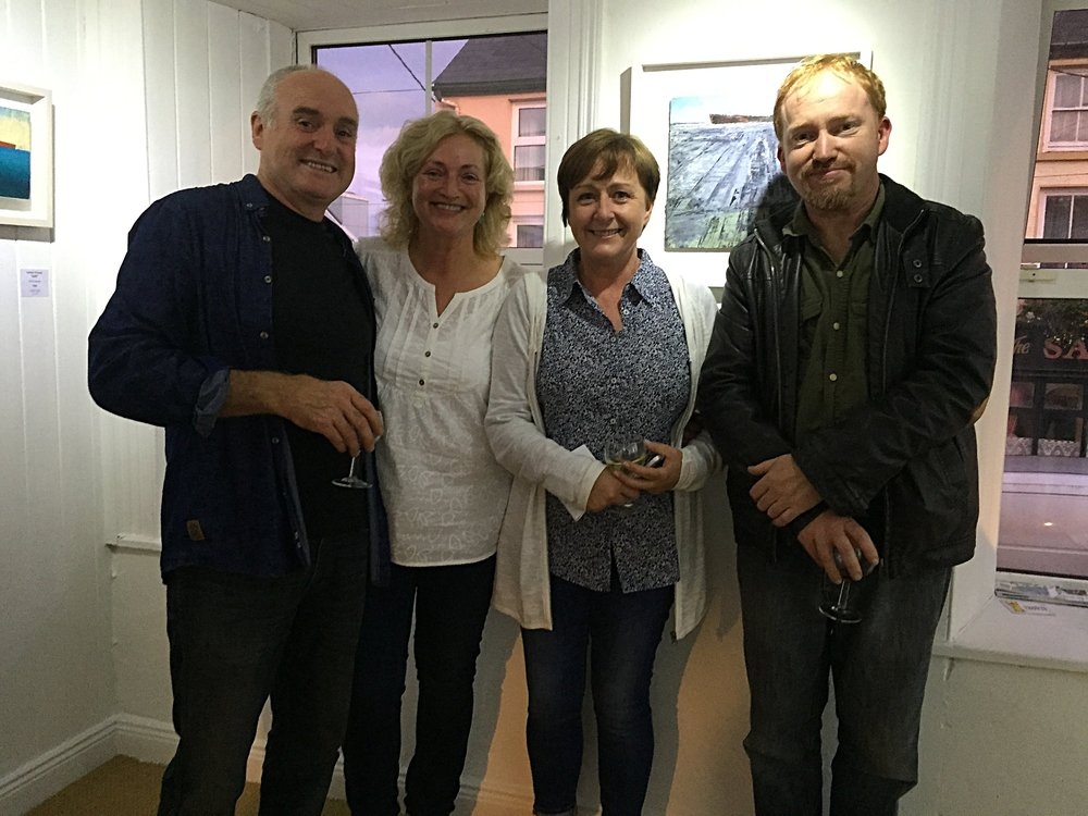 Helen with artists Donagh Carey, Fiona Power and Cormac O'Leary.