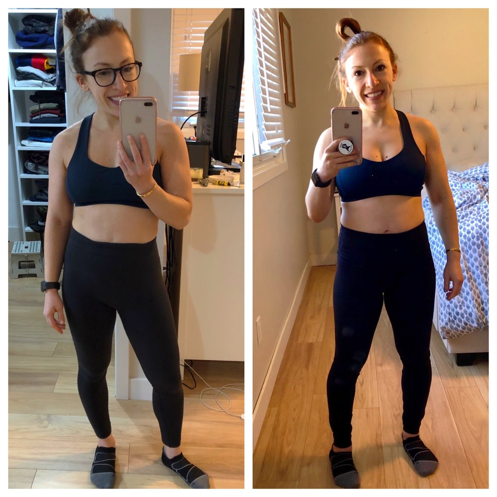 I am wearing the exact same sports bra in these two pictures, so you can see the difference in fit. Image on the left was week 4 (AKA the day I found out I was pregnant), on the right was week 14 (so technically right after the first trimester)