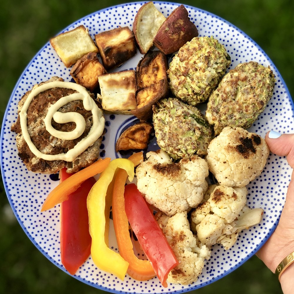 This is an example of a plant-centric meal, not plant-based. There is a diversity of plants, but also some 100% grass-fed meat.