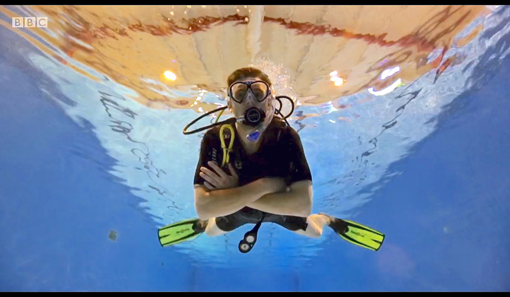 A still taken from CBeebies The Let's Go Club, scuba instructor Andy Mangold from Oyster Diving