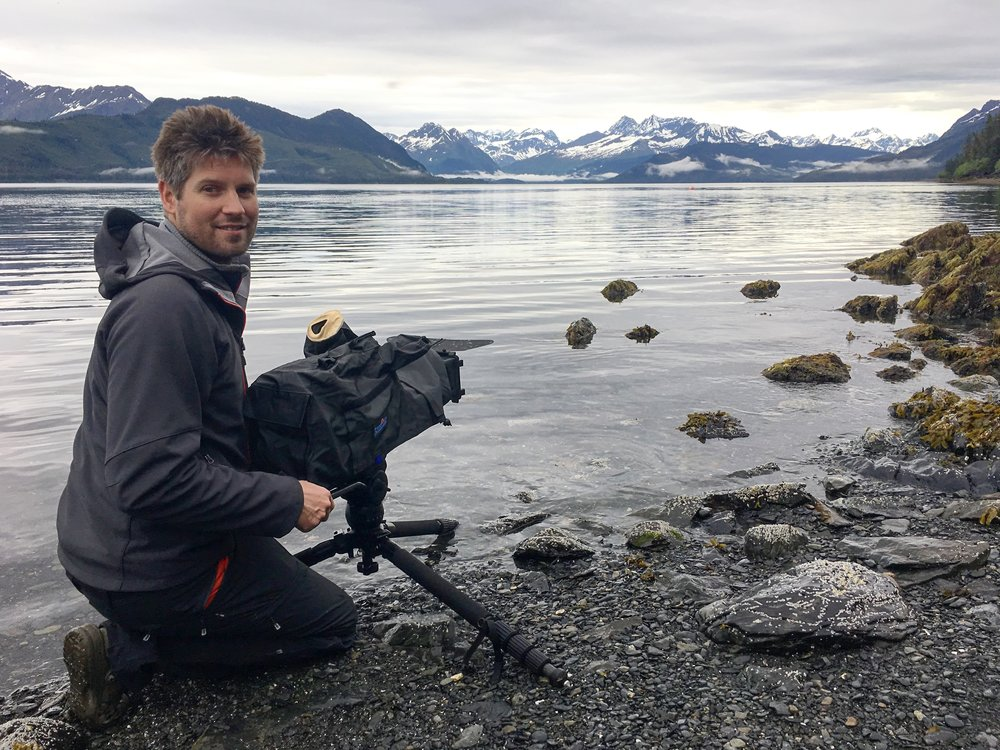Mark filming on location in Prince William Sound.