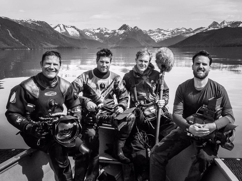 Mark with the team on location for the first of our films; featuring presenter Steve Backshall, sound recordist Rob Leverett and director Charlie Bingham.