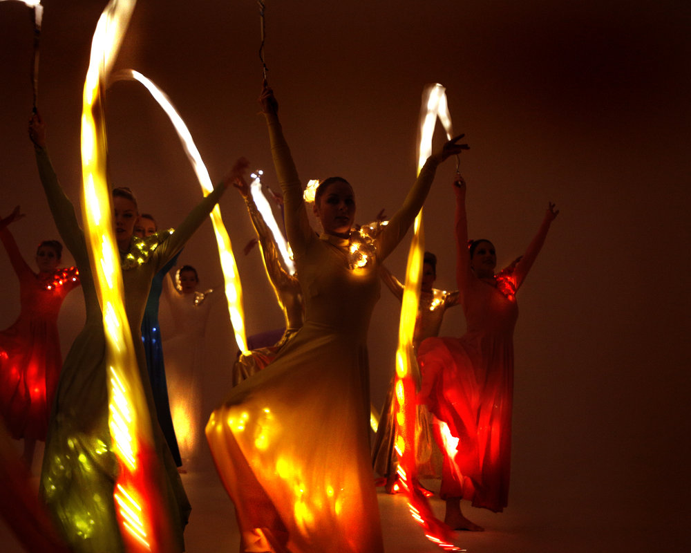 Light Emitting Dance in colour with illuminated ribbons, Divine Company.jpg