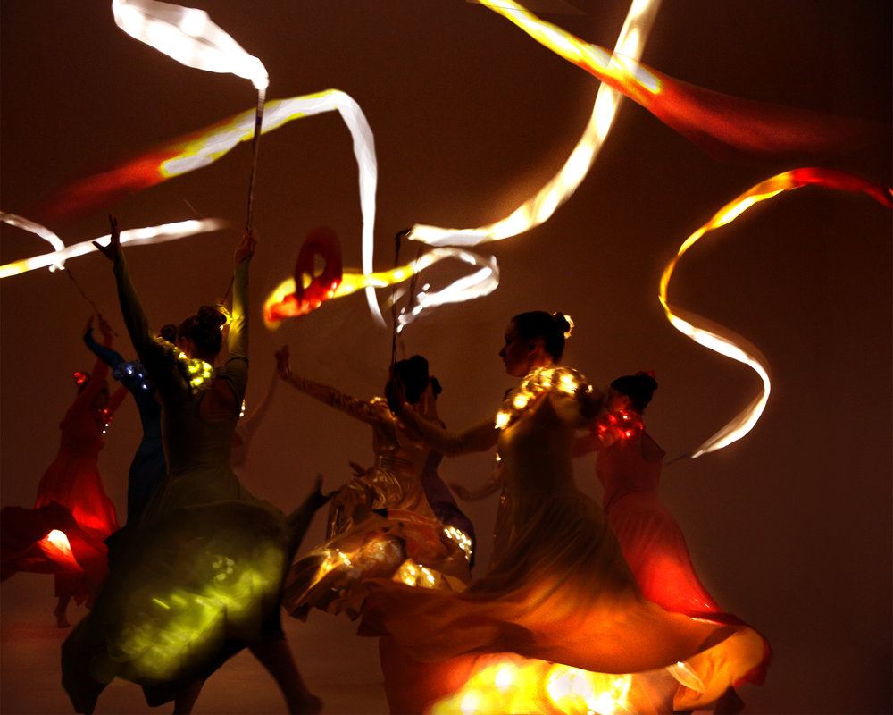 Light Emitting Dance in colour with illuminated ribbons 3, Divine Company.jpg