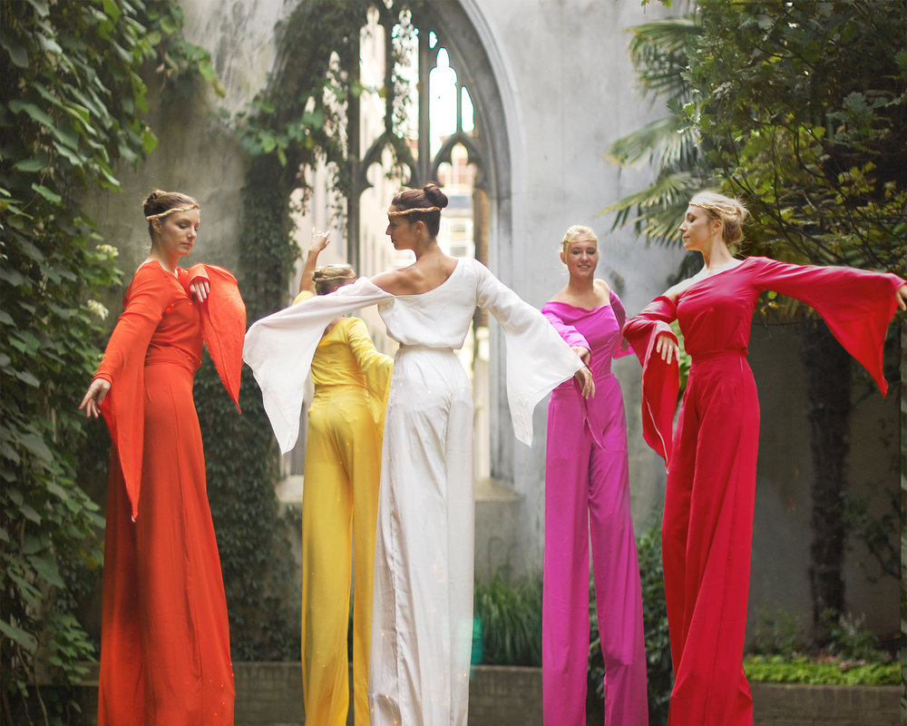 Arcadians in colour, stilt performance, Divine Company.jpg