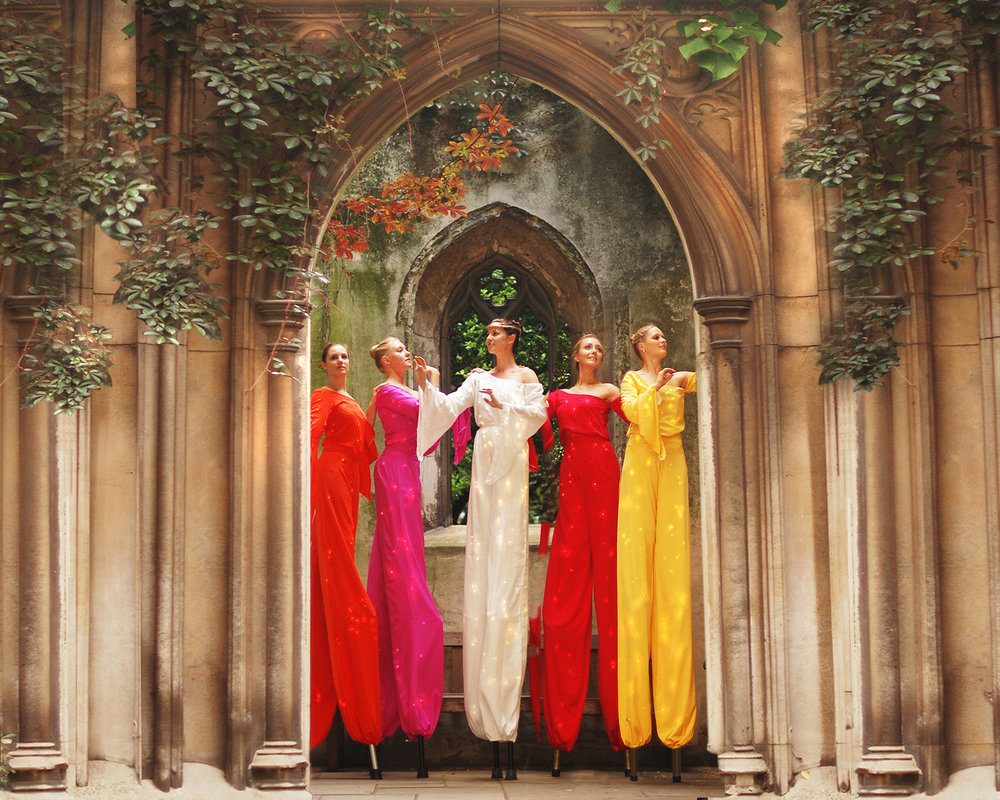 Arcadians in colour, stilt performance 2, Divine Company.jpg