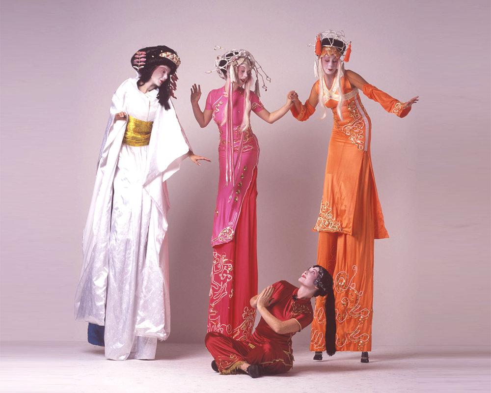 Geishas, stilt performance, Divine Company.jpg