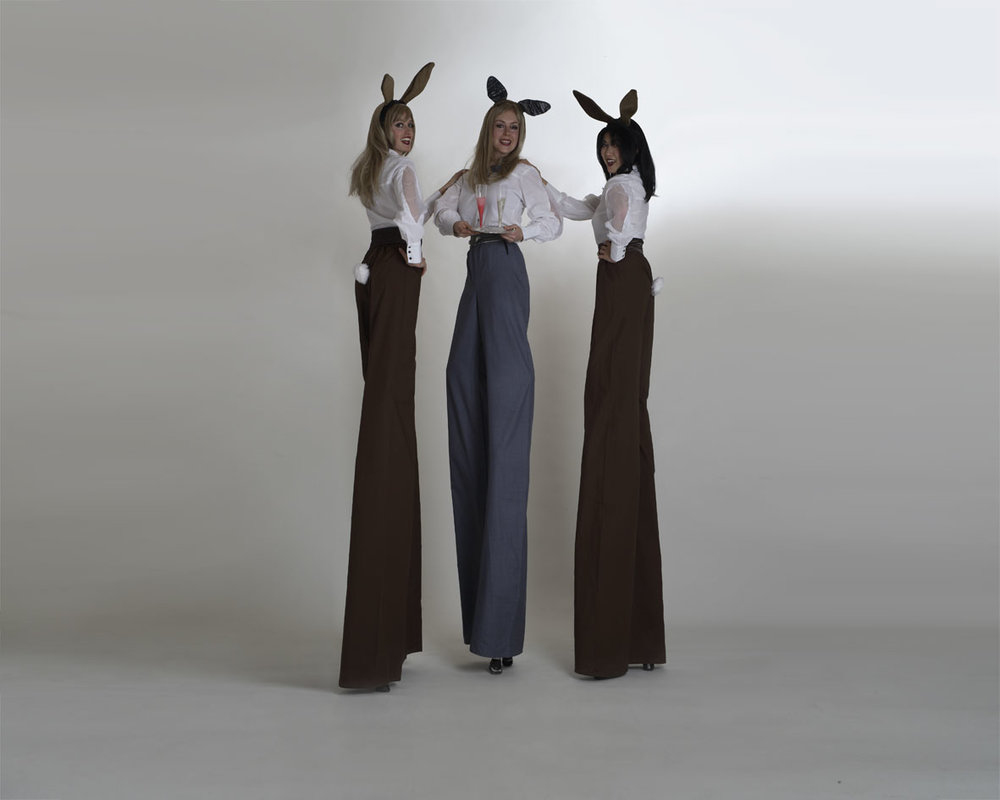 Retro Rabbits, stilt performance, Divine Company.jpg