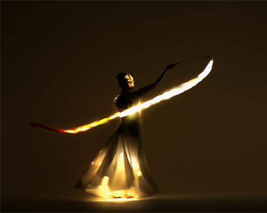 Light Emitting Dance in white with illuminated ribbons 3, Divine Company.jpg