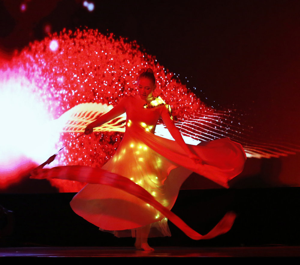 Light Emitting Dance in red, live in India, Divine Company.jpg