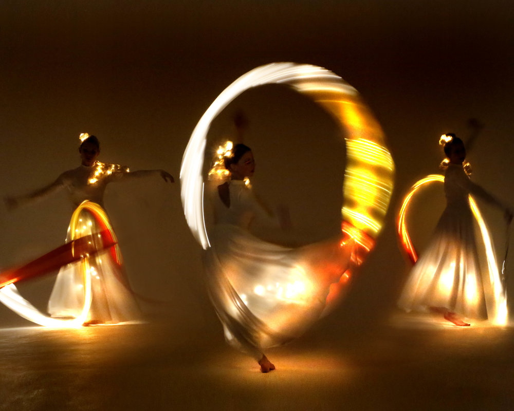 Light Emitting Dance in white with illuminated ribbons 2, Divine Company.jpg