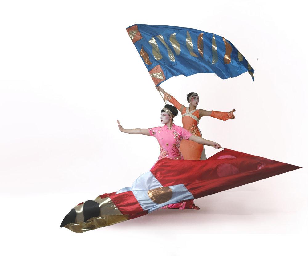 Geishas, flag performance, Divine Company.jpg
