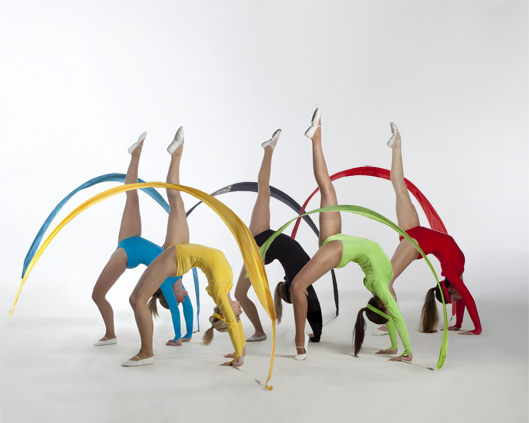 Gymnastic ribbon performance in Olympic colours, Divine company.jpg