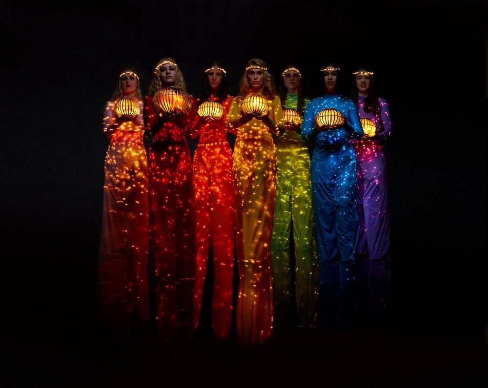 Colour Collection, illuminated stilt performance with lanterns, Divine Company.jpg