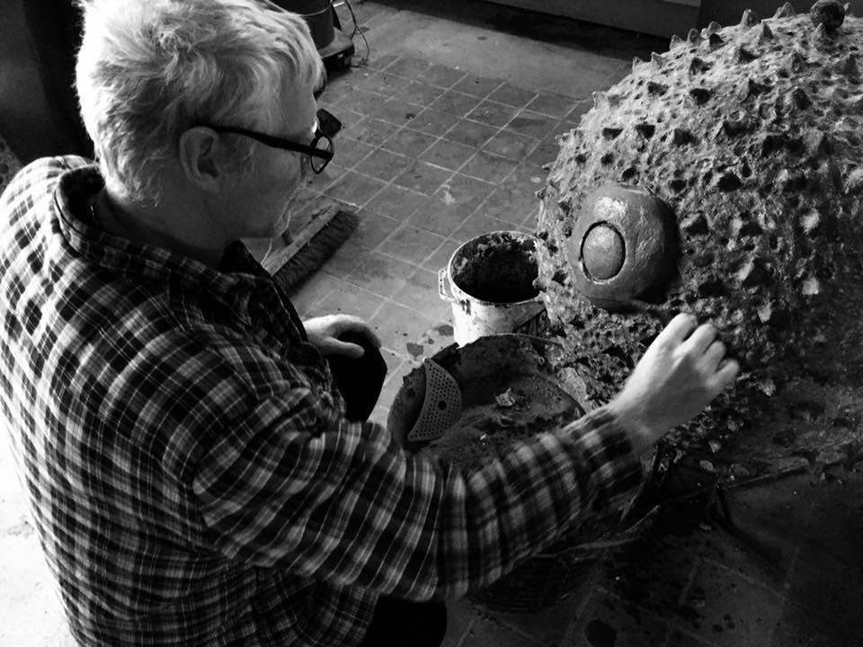 Director Nigel George working on a birch pollen hibernaculum.
