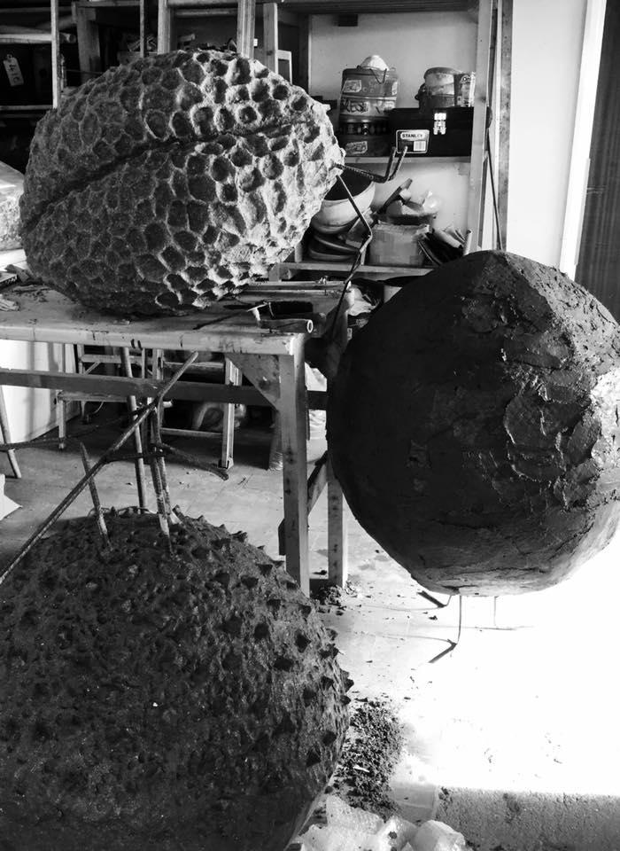 Pollen hibernaculum sculptures in progress in the Artecology studio.