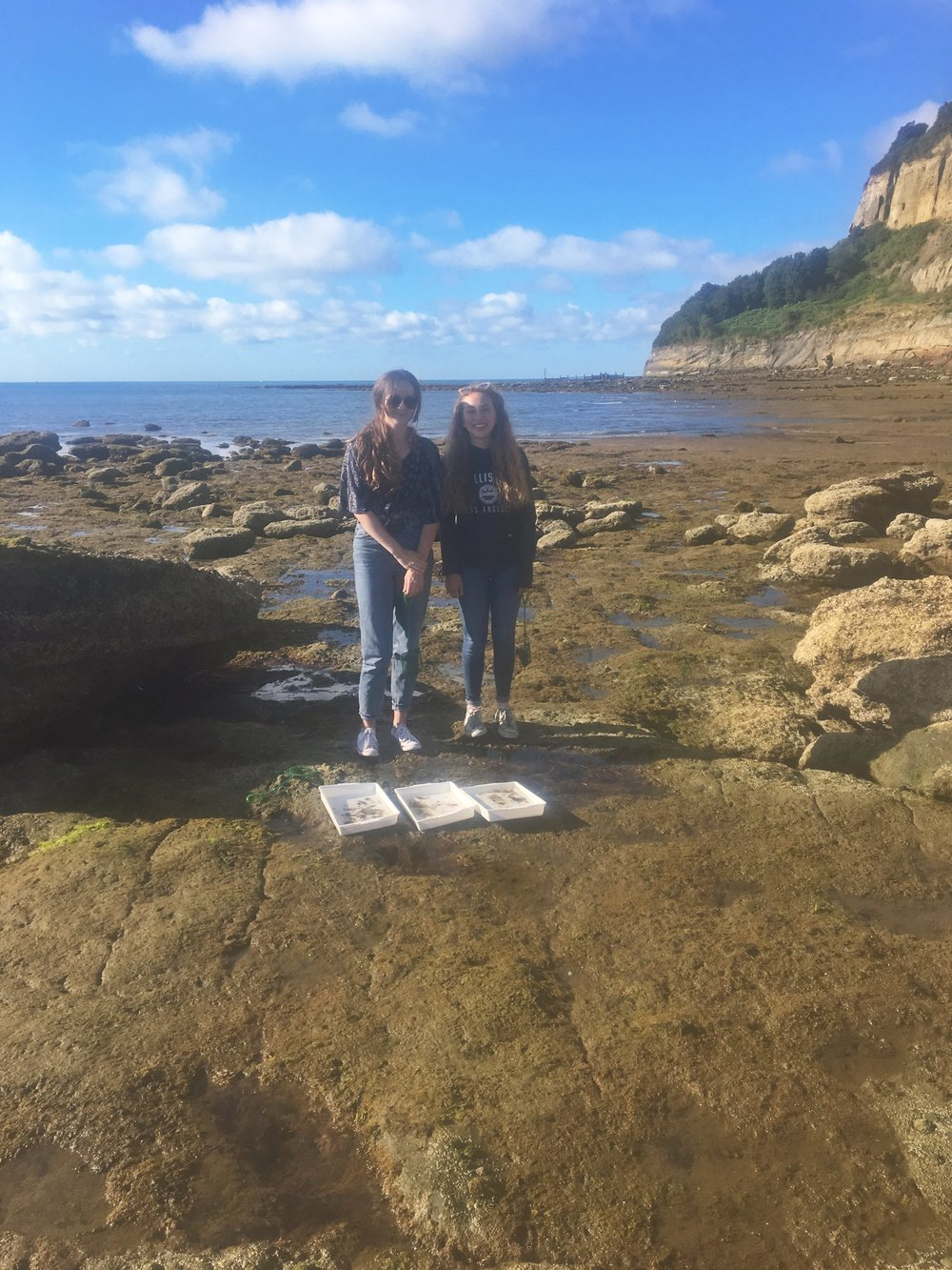 Students Lizzie and Alanah at Horse Ledge, Shanklin at the start of their project.JPG