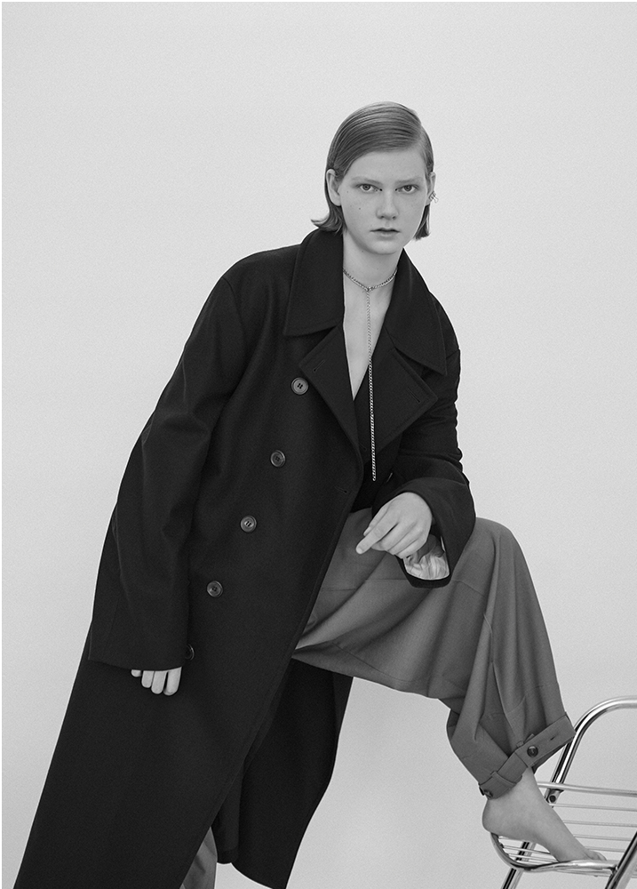 Coat and trousers MARNI, Earring and Necklace MARLAND BACKUS