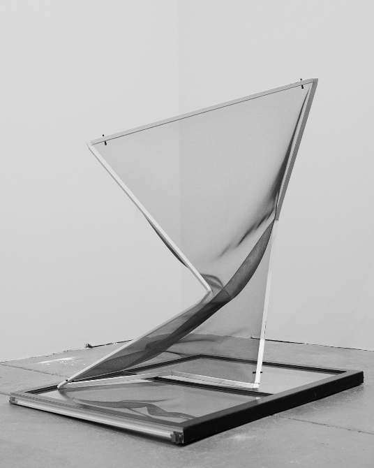 TORQUED SCREEN, #A; 2013 - 2014; Aluminum, rubber, screen; Dimensions variable