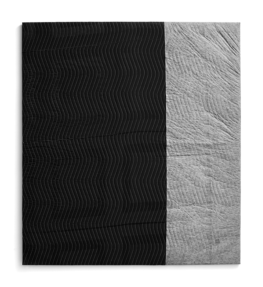 NIGHT MOVES; 2009; Moving blanket, wood; 66 x 60 inches (167.6 x 152.4 cm)