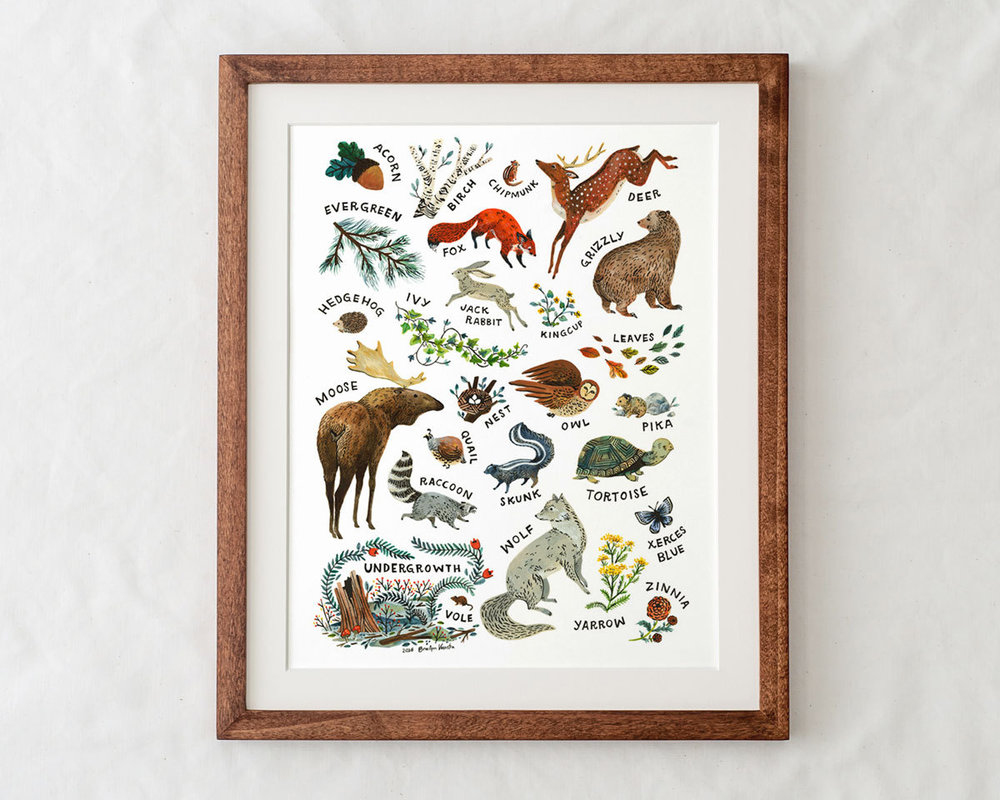 ABC Alphabet Wilderness 11x14 Print by Wildship Studio - frame not included
