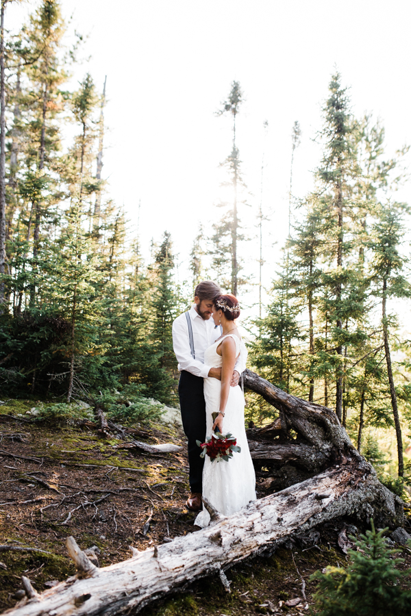bride and groom at Gunflint Lodge