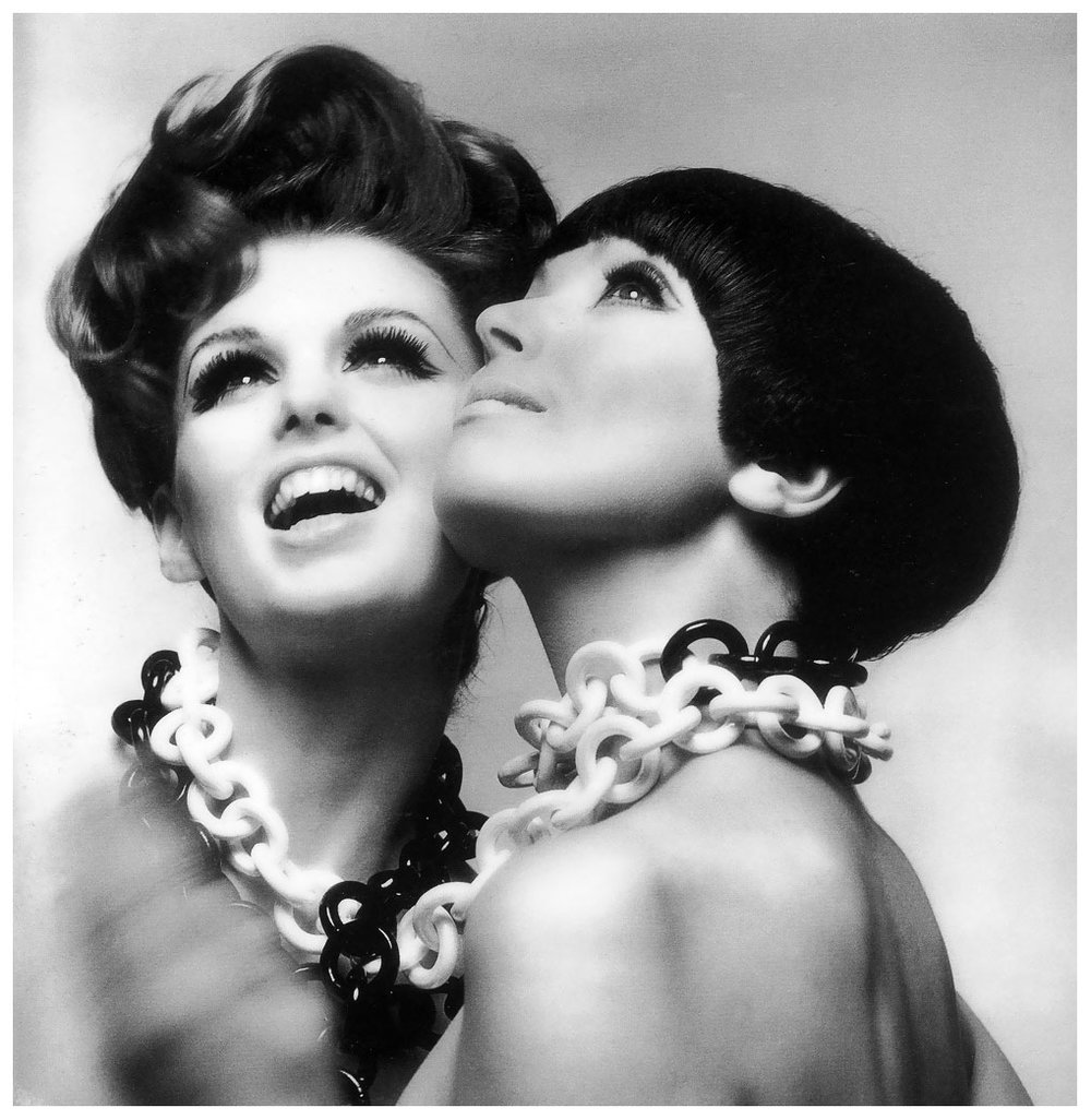 Dorothea McGowan and Melanie Hampshire. Hairstyles on Dorothy by Enny of Italy and Melanie by Vidal Sassoon. Necklaces by Arpad Harpers Bazaar, 1965.
