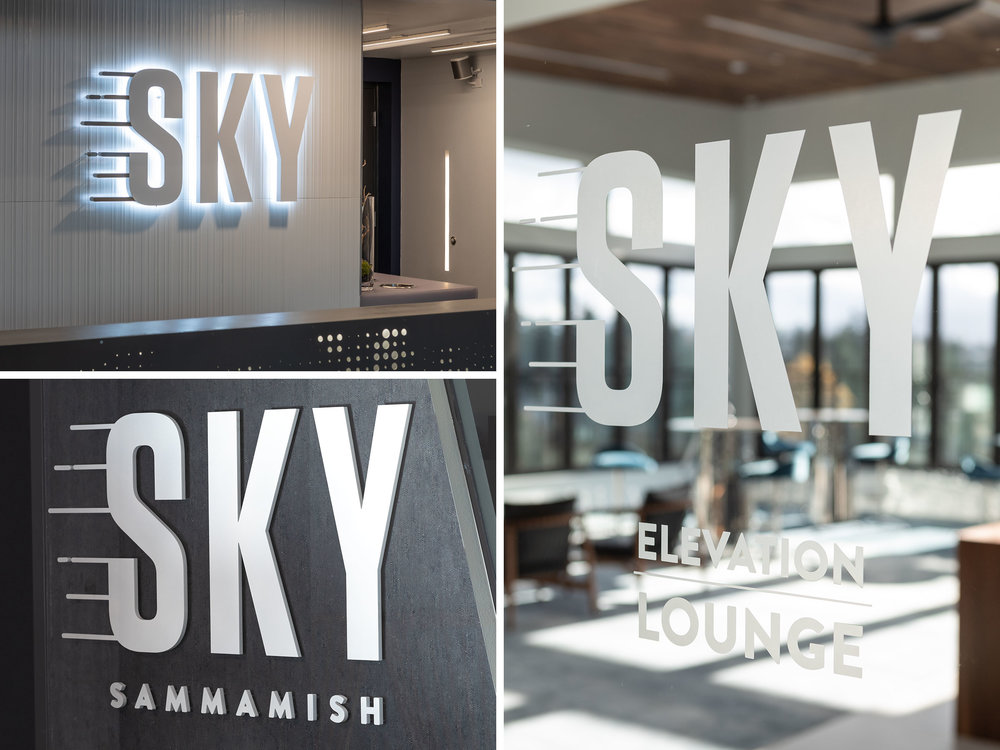 We used varying depths of signage throughout the interior to add interest to the space. The halo-lit dimensional wall sign in the main lobby, stud mounted dimensional wall letters in the leasing office and dusted crystal vinyl on the glass doors to announce the amenity spaces give the interior an upscale feel.