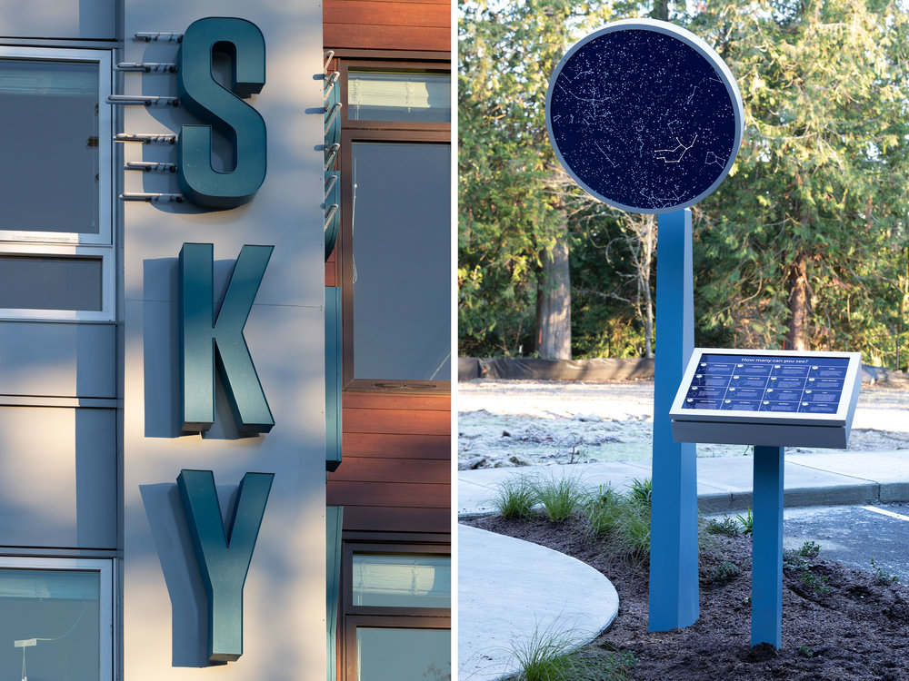 We wanted to make a statement with the building's main signage. The main sign on the left uses face lit, halo lit LED and neon lighting, capturing a bold and direct look to the entry of SKY as you come upon the building. The constellation map on the right is an interactive guide to finding star constellations in the night sky.