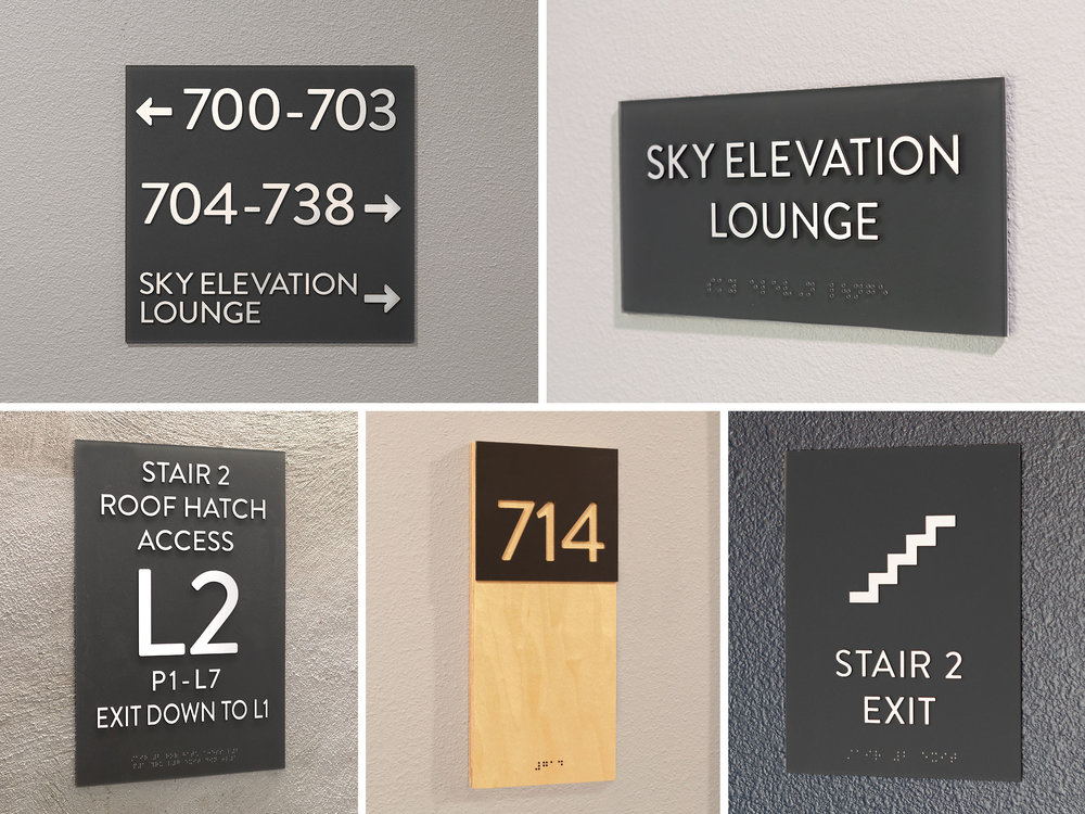 Code compliant ADA Signage plays an important role in interior signage. We used a harmonious color palette to add variety and compliment the tones of the space.