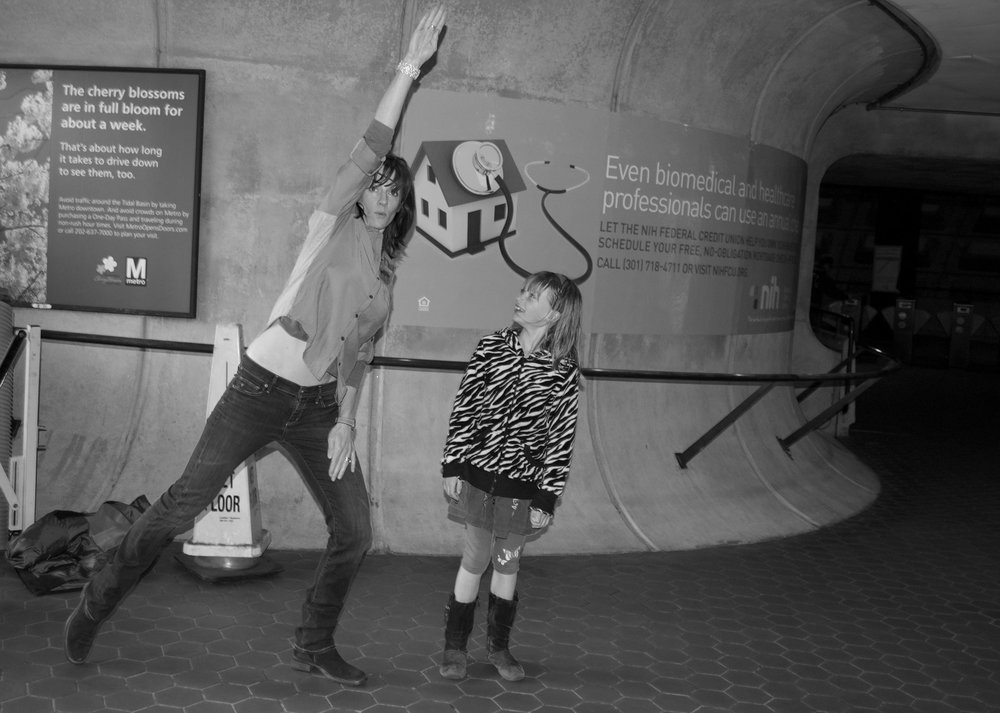 Dance everywhere, even if you look ridiculous and embarrass the kids. These MJ moves happened in this train station, Washington, DC.