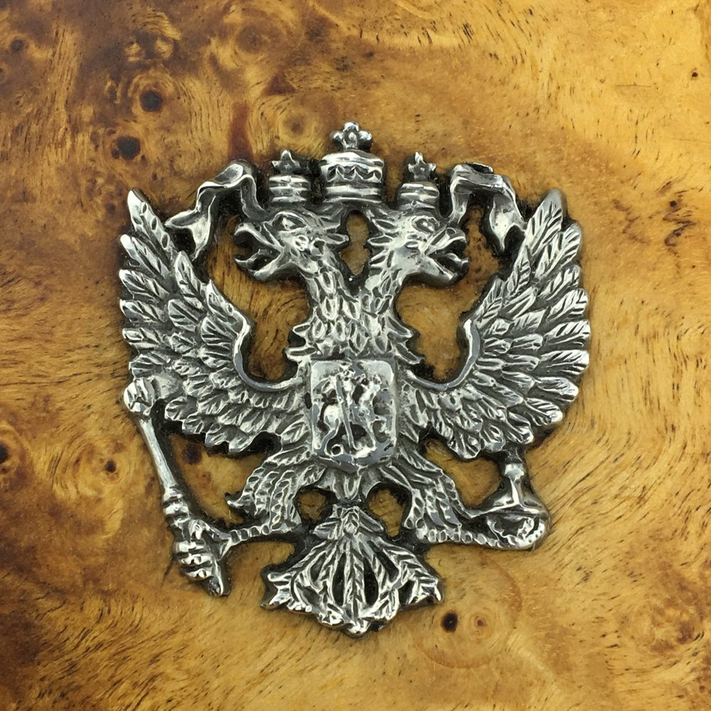 Russian Karelian birch wooden cigarette case with Russian Imperial double-headed eagle