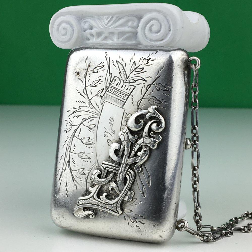 Antique 84 solid silver wallet purse Russian Emperor Nicolas II era