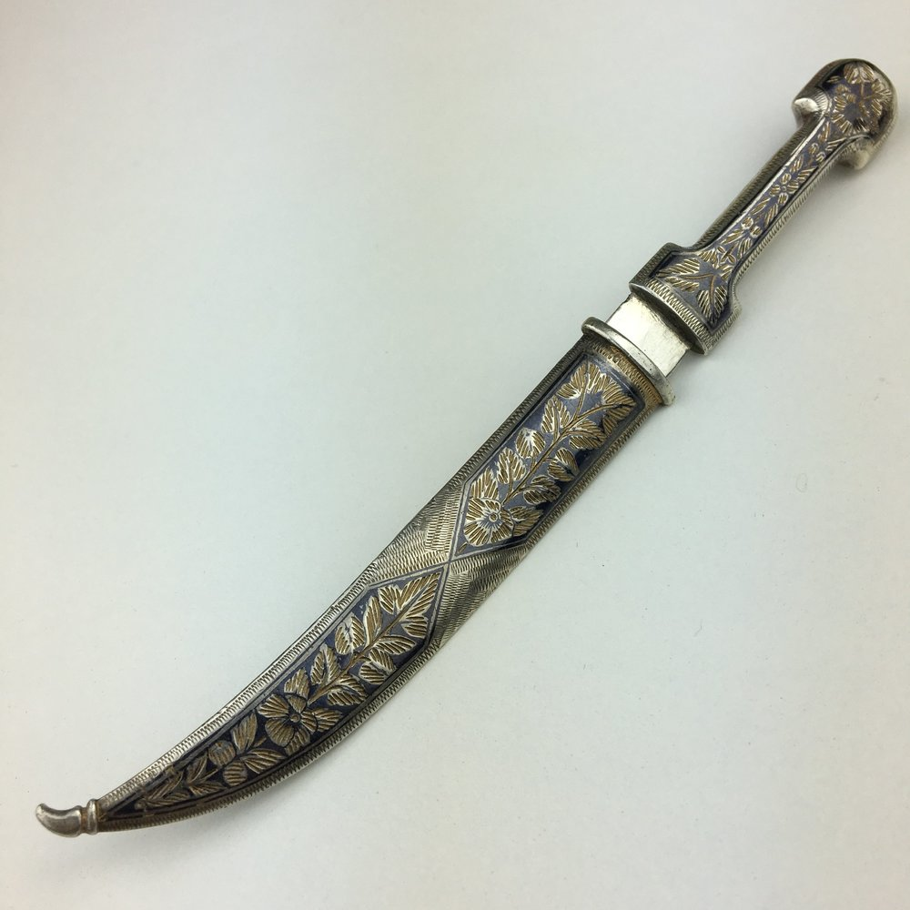 Antique Niello solid silver letter opener in Caucasian dagger knife style